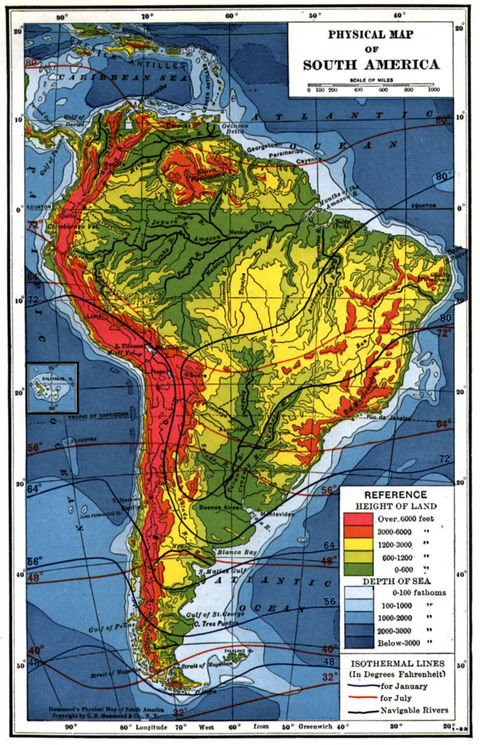 South America physical map
