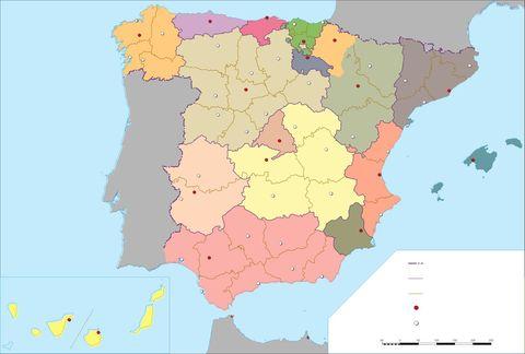 Mapa político mudo de España