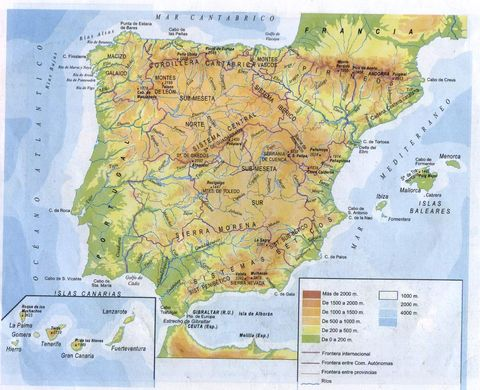 maps of spain for kids. 2011 images physical maps of spain. physical maps of nicaragua