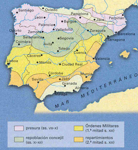HISTORY OF SPAIN Repopulation map