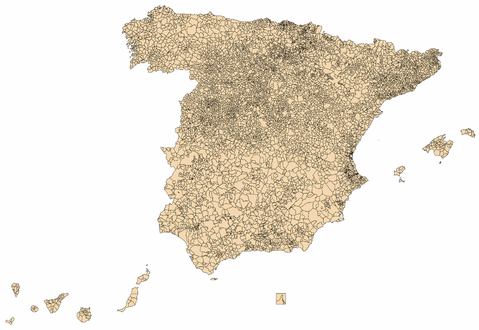 blank maps of spain. Spain municipalities lank map