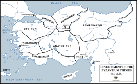 The Byzantine Empire themes or themata 650