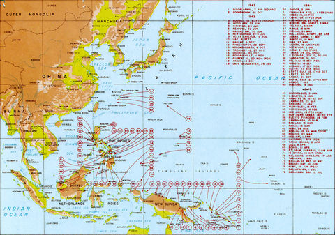 World War II in the Pacific 1942-1945. A map showing the main areas of the