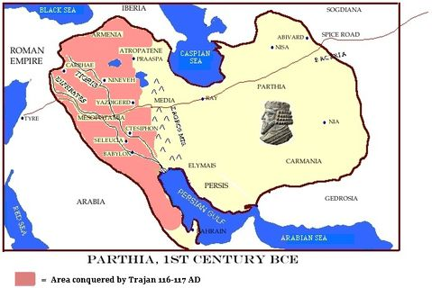 Parthian Empire losses to Rome 116-117 AD