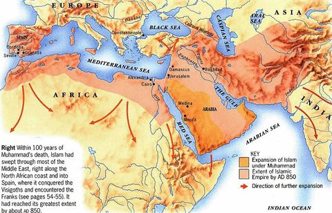Muslim conquests up to 850 AD