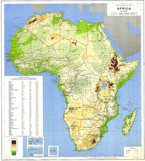 Africa physical map 1988.