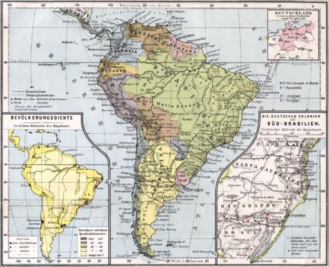 Mapa de América del Sur 1905