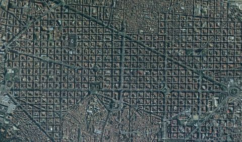 Satellite map of the Eixample 2004