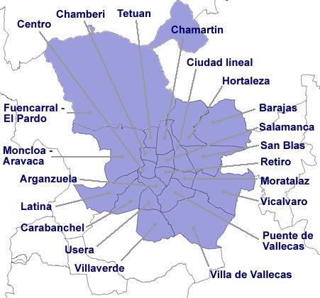 Image gallery madrid mapa distritos for Mapa codigos postales madrid capital