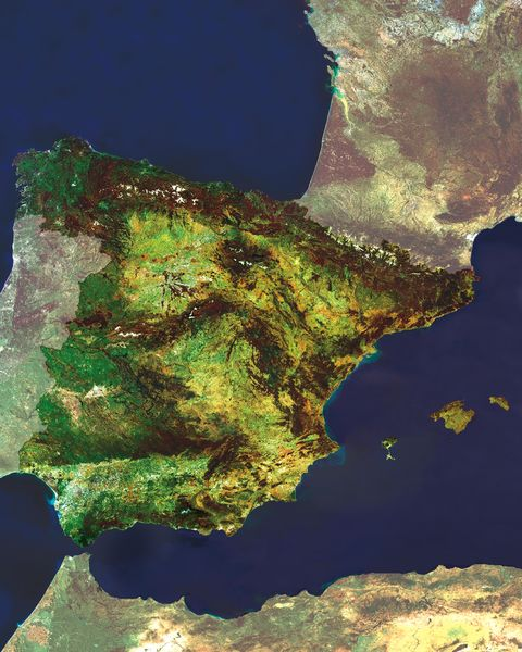 Spain satellite map
