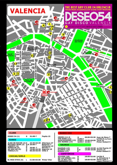 Gay Valencia map: all bars and clubs in Valencia. Source.