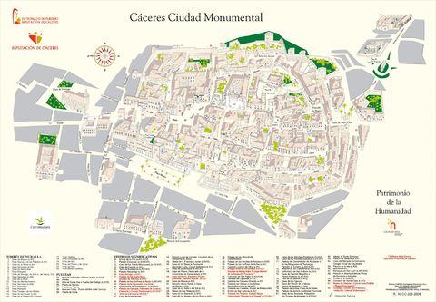 Mapa ciudad monumental de caceres