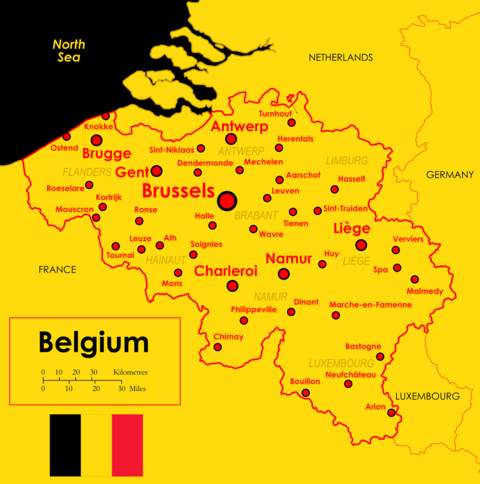 Map of Belgium and its major cities