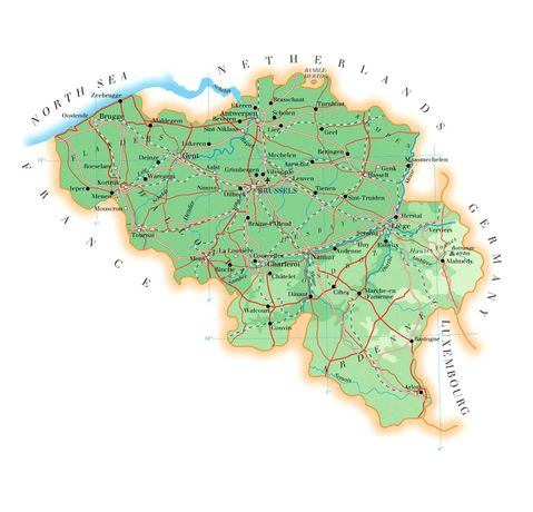 Physical map of Belgium