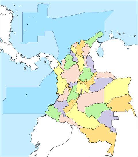 Mapa político mudo de Colombia 2008
