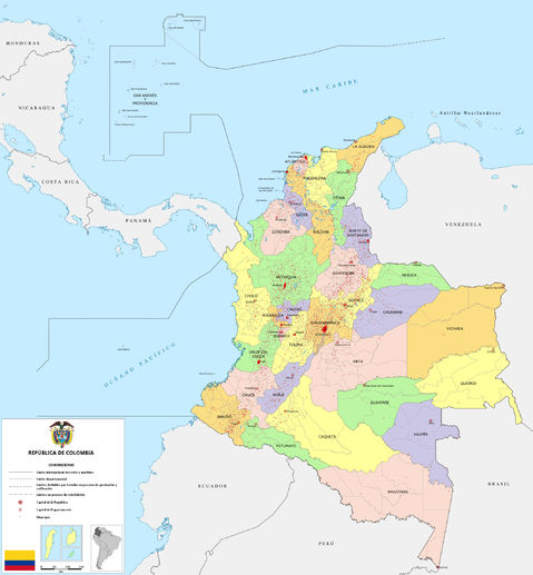 Political map of Colombia 2009