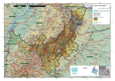 Mapa de Boyaca Colombia Mapa Físico de Boyacá