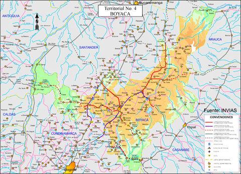 Mapa de Boyaca Colombia Mapa de Carreteras de Boyacá