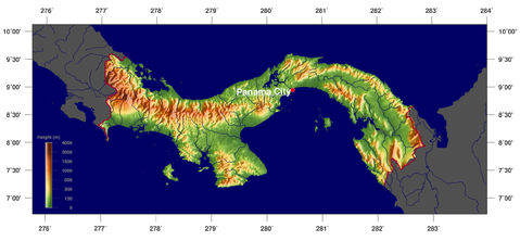Panama Topographic Map