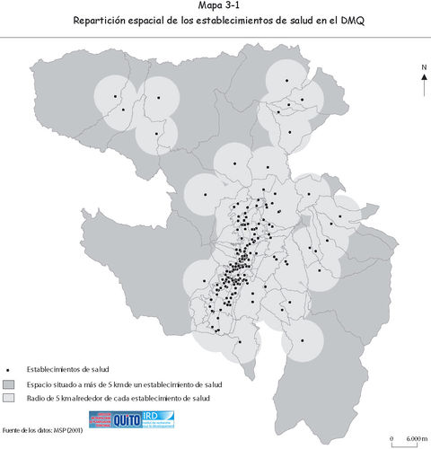 Health facilities in the Metropolitan District of Quito 2001