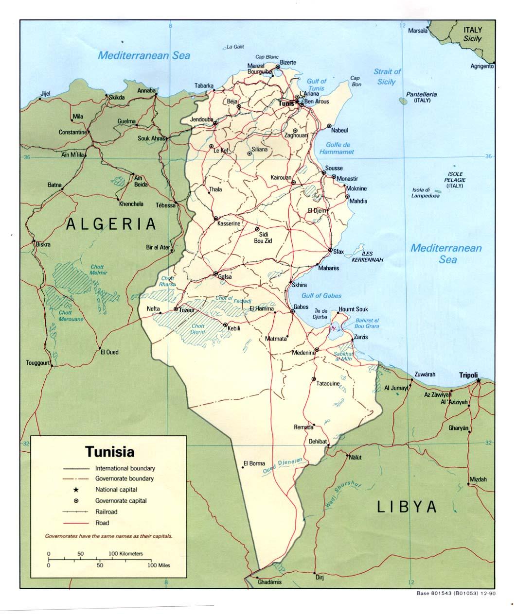 Tunisia Political Map