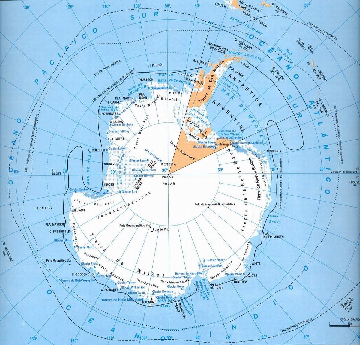 Antarctic & South Atlantic Islands, Tierra de Fuego Map ...