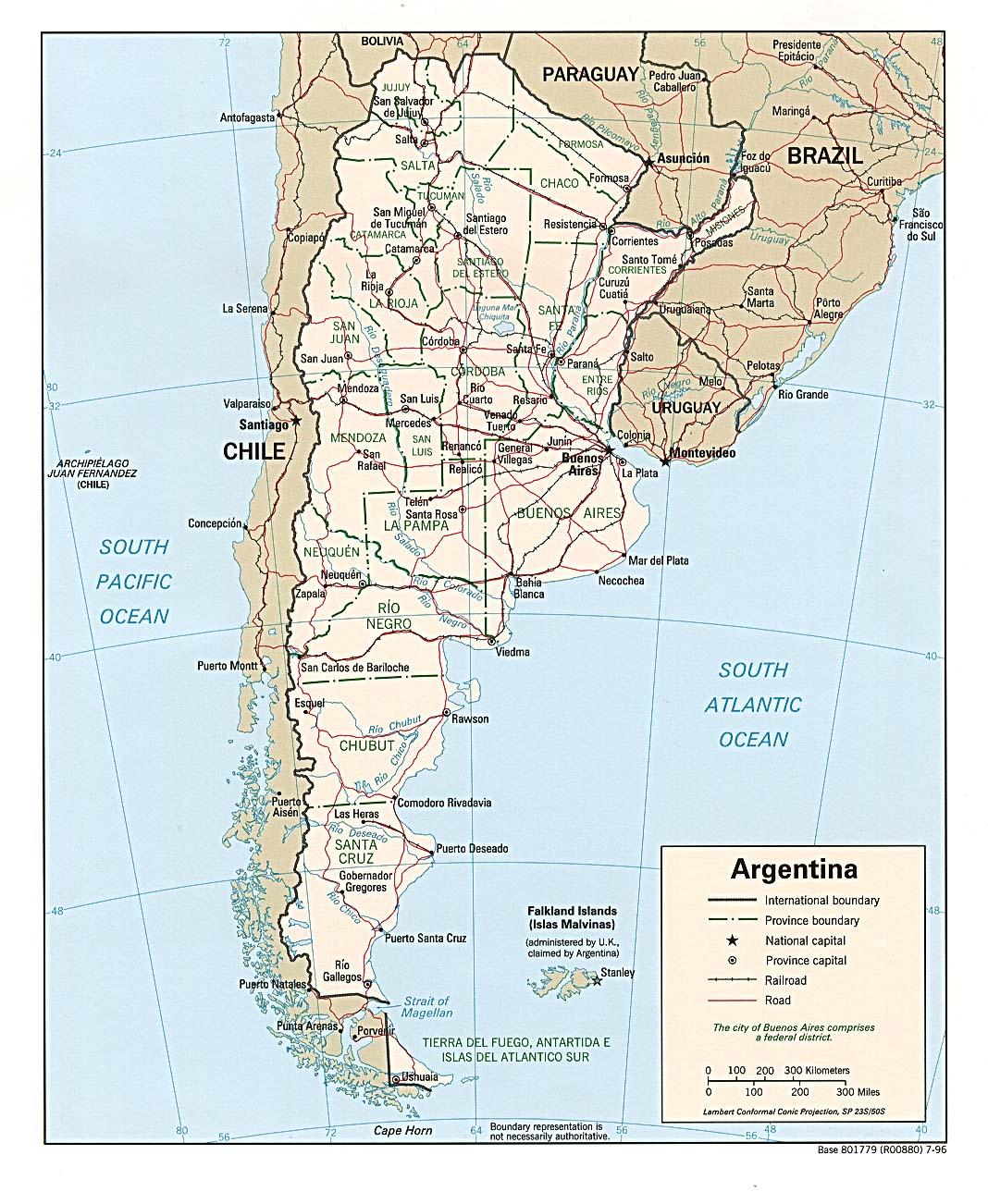 Mapa Politico Argentina 1996