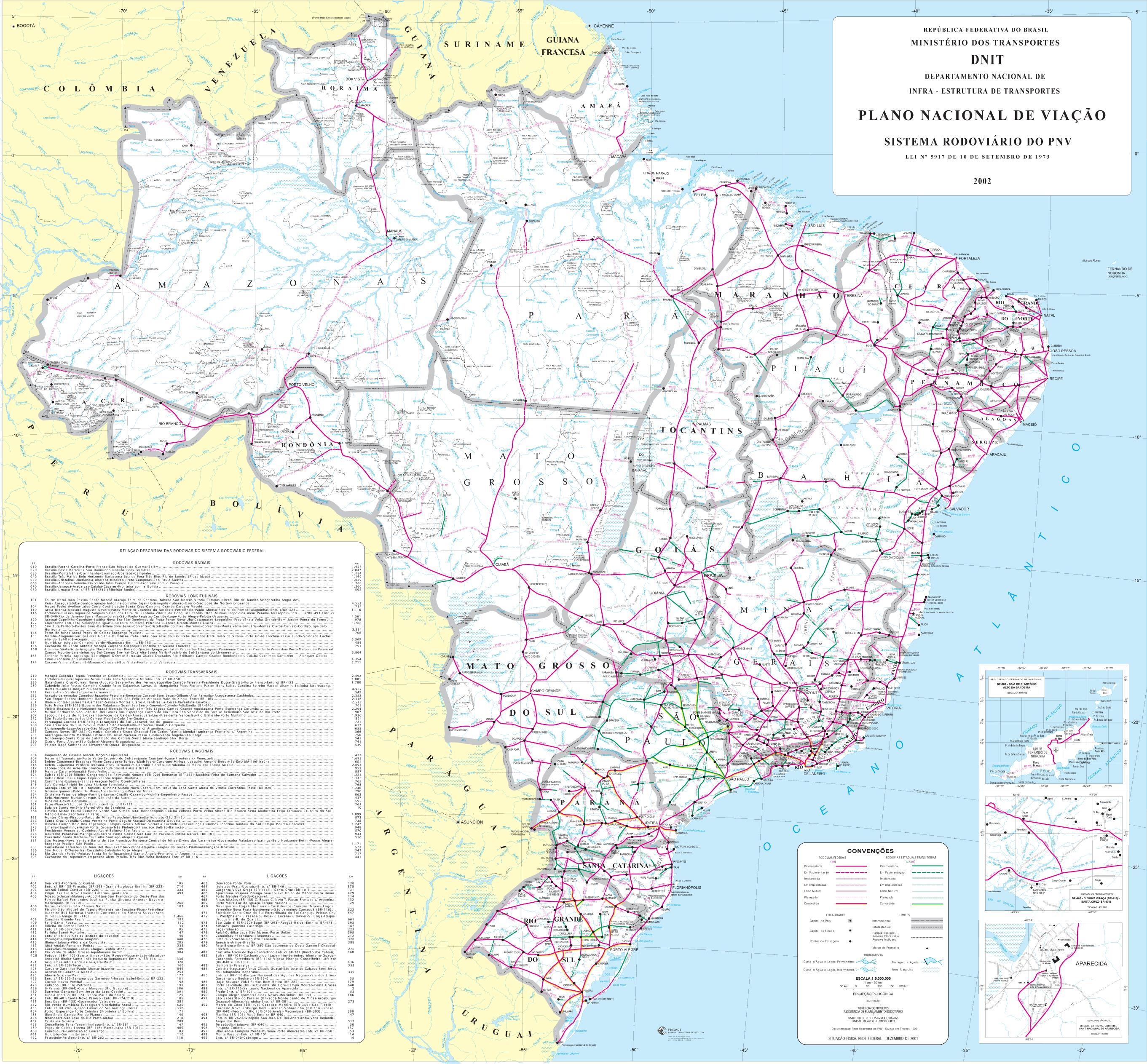 Brazil Large Scale Road Map, South America 2002