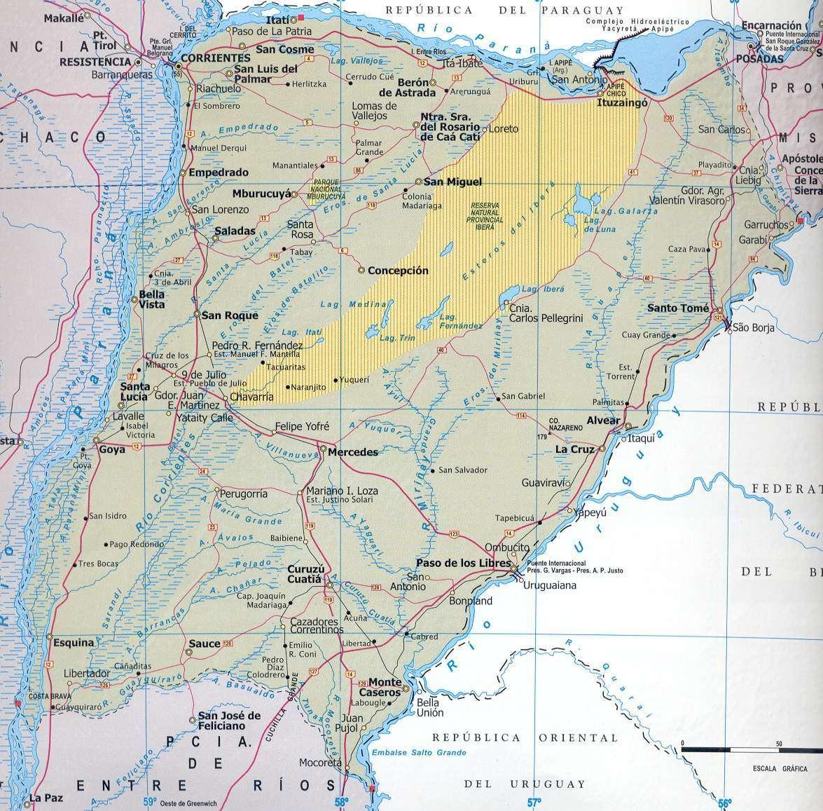 Corrientes Province Map, Argentina