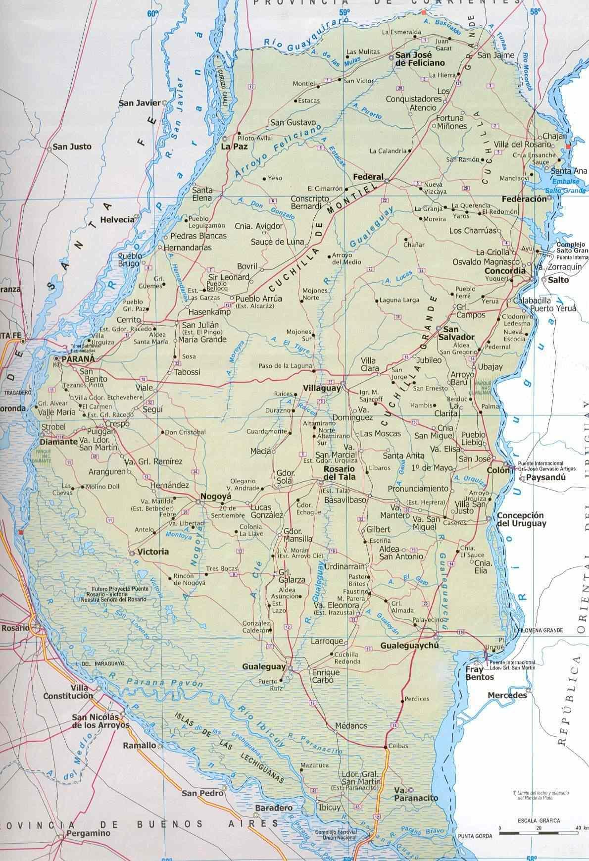 Entre Rios Province Map, Argentina