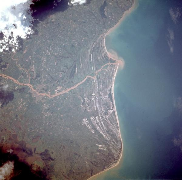 Foto, Imagem de Satélite do Rio Paraiba do Sul, Brasil