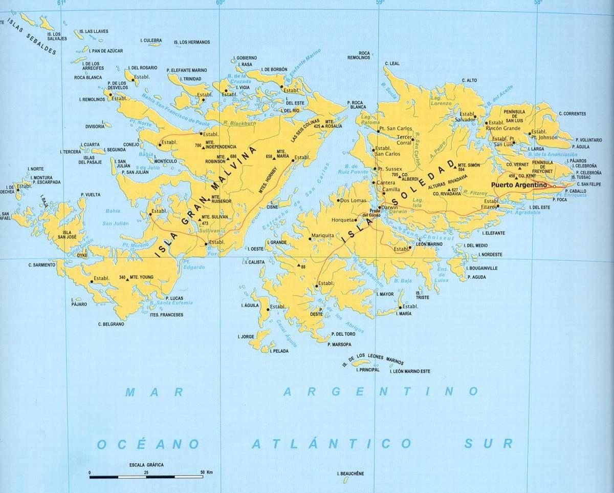 Map Of Malvinas Islands