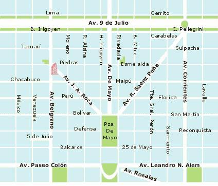 Mapa del Microcentro de la Ciudad Autónoma de Buenos Aires, Argentina