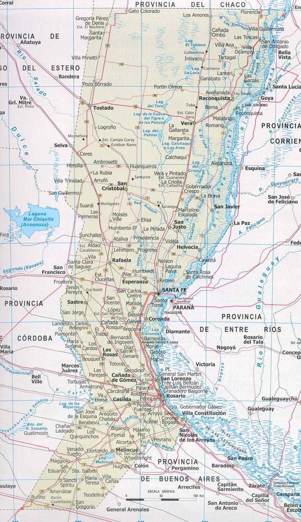 Santa Fe Province Map, Argentina