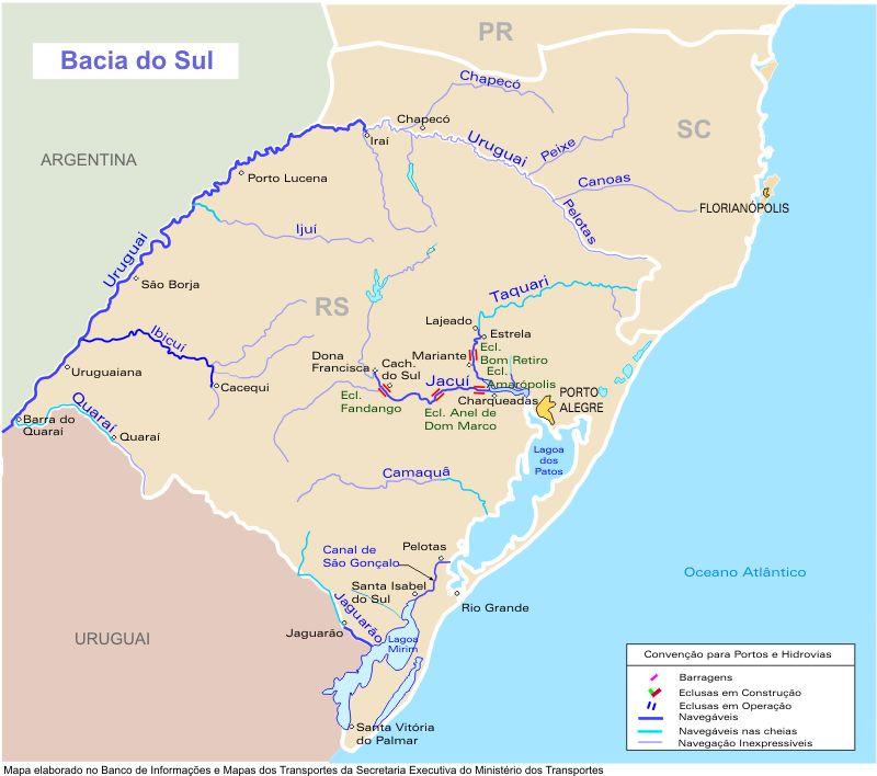 Southern Basin Waterways Map Brazil
