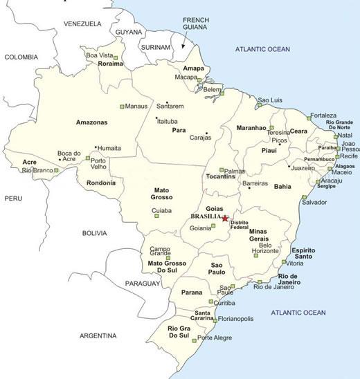 Brazil Cities Map