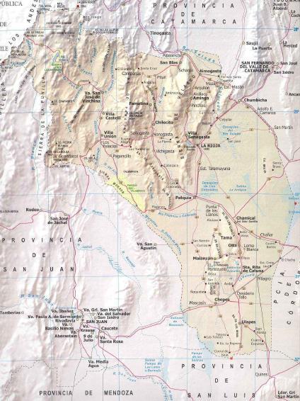 Carte de la province de la rioja, argentine