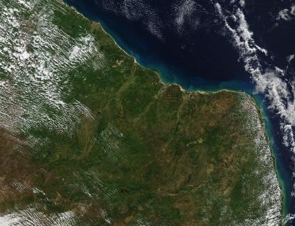 Foto, Imagem de Satélite da Costa Nordeste do Brasil