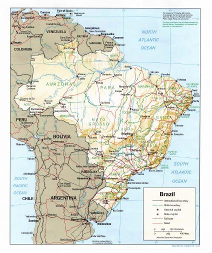 Mapa Físico do Brasil