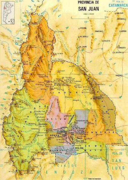 Mapa de Provincia de San Juan, Argentina