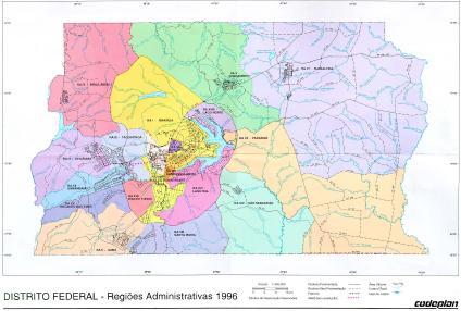 Mapa das Regies Administrativas do Distrito Federal Braslia