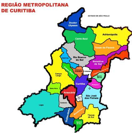 Mapa de la Region Metropolitana de Curitiba, Brasil