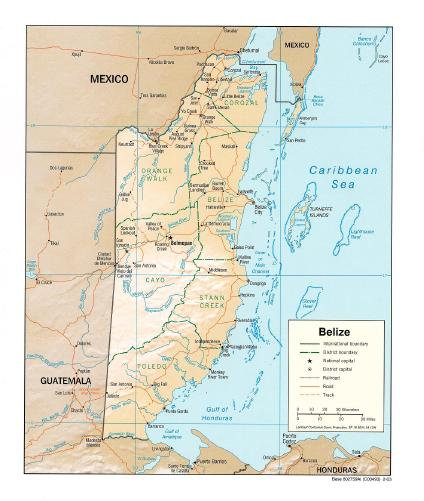 Mapa de Relieve Sombreado de Belice