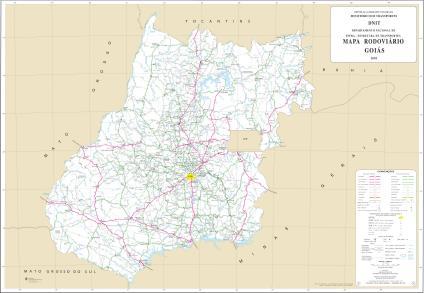 Mapa de Rodovias Estaduais e Federais do Estado de Gois Brasil