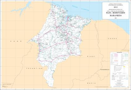 Mapa de Rodovias Estaduais e Federais do Estado do Maranho Brasil