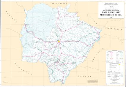 Mato Grosso do Sul State Road Map, Brazil