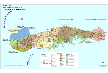 U.S. Naval Installations Map, Vieques Island, Puerto Rico