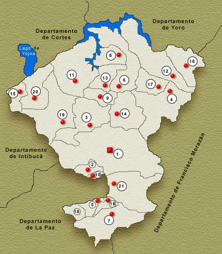 Comayagua Department Map, Honduras