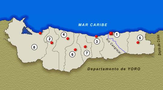 Mapa Departamento de Atl�ntida, Honduras