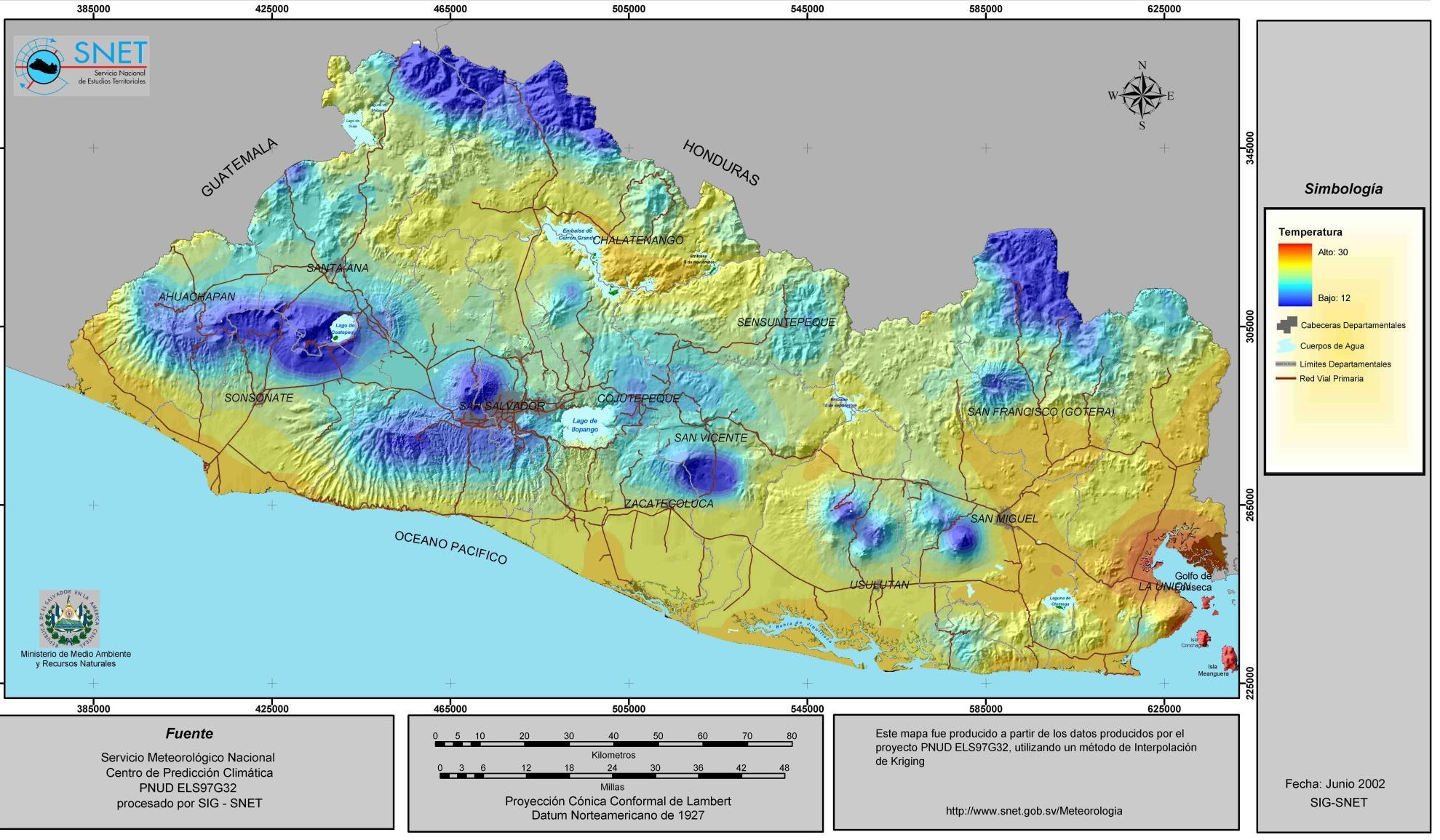El Salvador Temperature Map